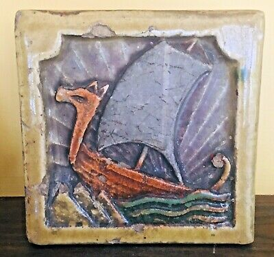 Arts And Crafts Viking Ship Art Pottery Tile