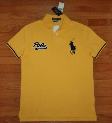 NWT Mens Polo Ralph Lauren Custom SLIM Fit Polo Shirt BIG PONY & SCRIPT LOGO *V5