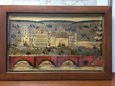 "German Vintage Wood Hand Carved Painted Picture Black Forest Scene Large 38""x25"""