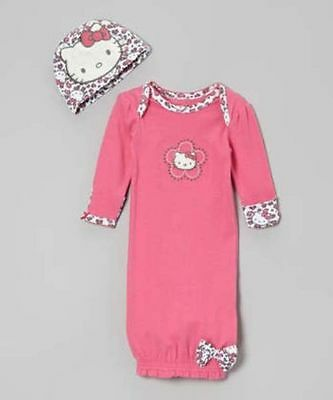 Edgehill Collection White Eyelet Over Pink Layette Gown 0-6 MO NWT $42.00