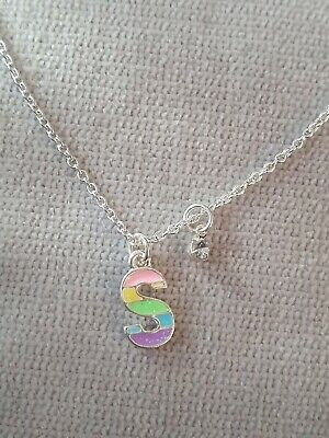 Kids Rainbow Necklace, Personalised With Initial S Little Girls Gifts