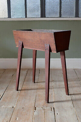 Vintage Mid Century Wooden Planter Pot Stand With Tapered Legs