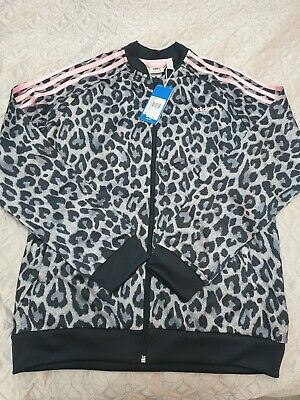 Girls ADIDAS ORIGINALS Cuffed LEOPARD PRINT Full Zip Track Top Age 14-15 Years