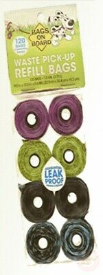 Bags on Board  Strong, Leak Proof Dog Poop Pick-up Bags - Patterned (120 Bags)