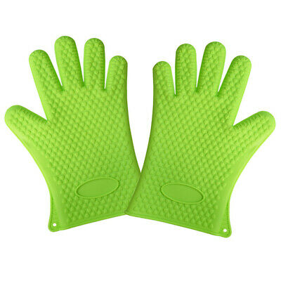 Silicone Kitchen Mitts for Oven Grill BBQ Gloves-002 Silicone Cooking Gloves Large Silicone Oven Gloves And Pot Holders KaraMona Large Silicone Oven Mitts Heat Resistant Extra Long and Thick Green