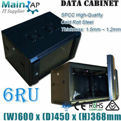6U 6RU 19'' NETWORK DATA LAN CABINET450mm DEEP WALL MOUNT SERVER DATA RACK Combo