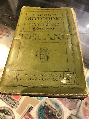 Bacon's Motoring And Cyclng Road Map Ireland Vintage