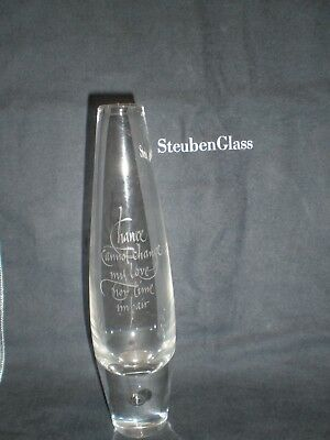 """Steuben Teardrop Vase Inscribed - Love - """"Chance Cannot..""""  7.75"""" Tall - Signed"""