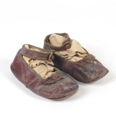 Antique Girls Shoes Dark Red Leather Kids Childs Distressed