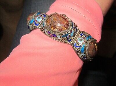 Antique  Chinese Export  Marked Silver Tigers Eye Enamel Filagree Bracelet