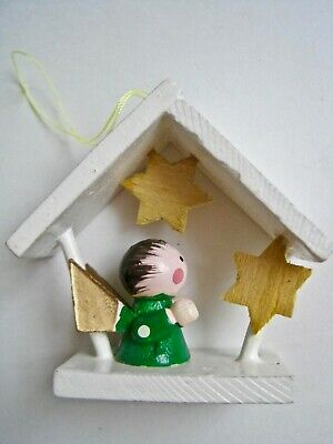 Vintage Carved Wood Angel With Stars Christmas Ornament