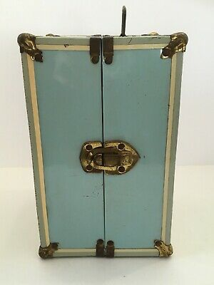 Vintage 1950/60's Blue Metal Doll Trunk Case for Ginny Dolls