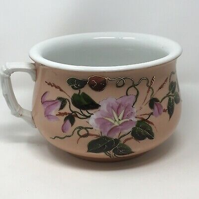 Antique Chamber Pot Hand Painted Morning Glories