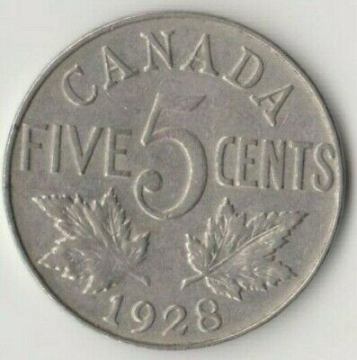 Canada 5 Cents 1928 Circulated
