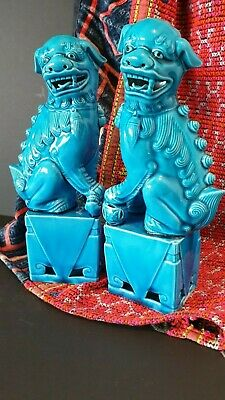 Old Chinese Turquoise Foo / Fu Dog Lions a Matched Pair …beautiful Turquoise Por