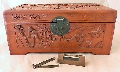 Antique Hand Carved Chinese Camphor Wood Box Dovetail with Chinese Lock