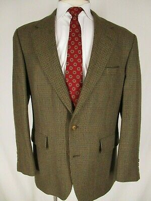 Brooks Brothers Mens Brown Houndstooth 2 Btn Tweed Blazer 41R USA Made
