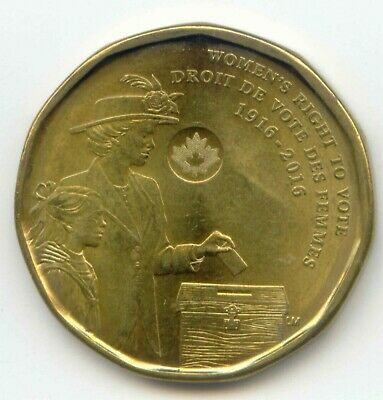 Canada 1916 - 2016  Loonie Canadian One Dollar $1 Women's Right to Vote Coin