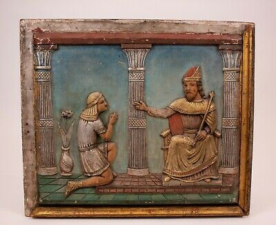 Antique Joseph & Pharaoh Genesis 41:40 Wood Relief Folk Art Wall Plaque Icon