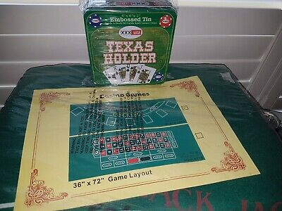 Dal Rossi Quality Roulette Mat & Embossed Tin With Deck Of Cards & Casino Chips