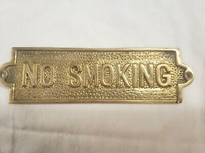 Vintage Solid Brass Ships NO SMOKING Door Sign Home Wall Decor