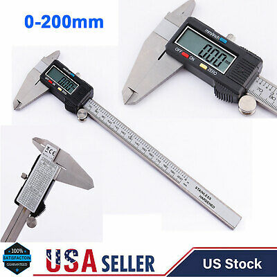 0-200 mm Stainless Steel Electronic Digital LCD Vernier Caliper Gauge Micrometer