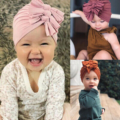 Toddler Baby Turban Bow Head Wrap Beanie Hat Cap Headband Boy Girl Hair Band Acc
