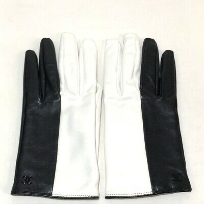 CHANEL CC Bicolor Gloves Black/White Lambskin Leather
