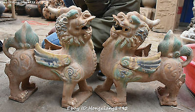 """15"""" Chinese Tang San Cai Pottery Porcelain Dragon Pixiu Brave Troops Statue Pair"""