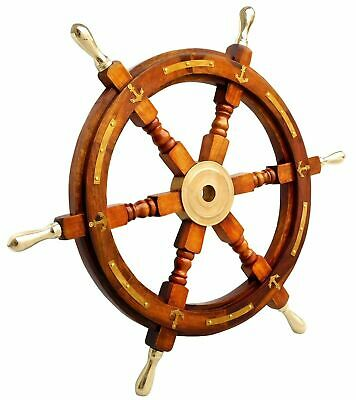 """24"""" Nautical Brass Anchor Antique Wooden Ship's Wheel Boat Steering Wall Decor"""