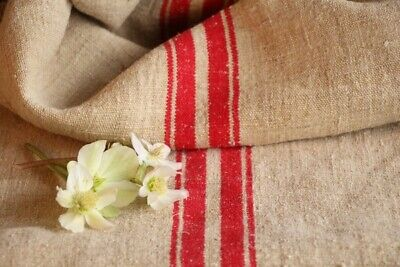 F 201 antique french grain sack grainsack oatmeal tomato red