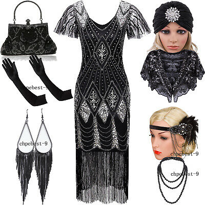 1920s Flapper Dress Great Gatsby Evening Gown Party Prom Cocktail Wedding Brides