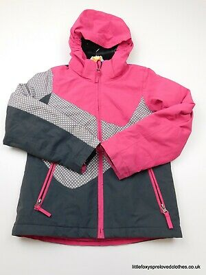 5-6 year Crane girls coat hoodie warm pink grey