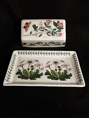 Beautiful Portmeirion Botanic Garden Rhododendron Butterfly Covered Butter Dish