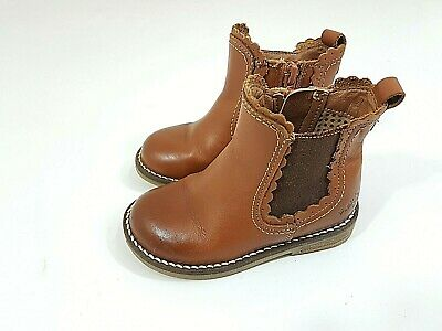 Beppi 2145781 Girls Tan Leather Combi Zip Boots Shoes 7-12 FG Fit NEW BOXED