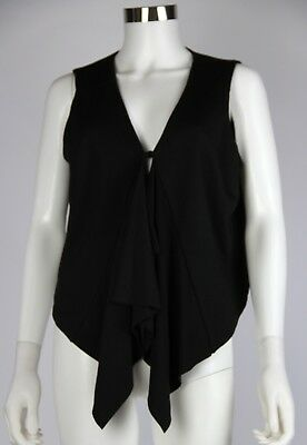 M by Marc Bouwer Top Womens Black Rayon Draped Front Vest Button Closure Medium