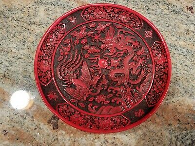 Chinese Red Cinnabar Lacquer Dragon Phoenix Decorative Plate 7.5 Inches