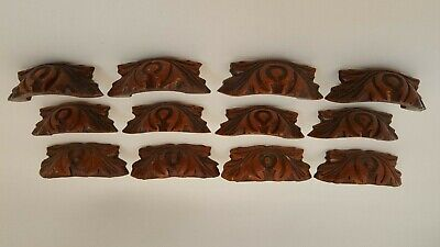 12 Antique Ornate Carved Wood Drawer Pulls Handles 4 Large 8 Small