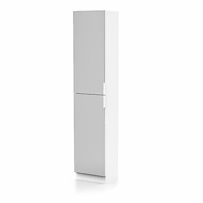 Tall Free Standing Organiser Mirrored Storage Cabinet Bathroom Cupboard