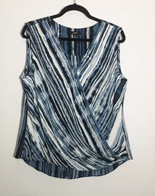 Alfani Women's Blue White Print Faux Wrap Sleeveless Work Blouse Size Large