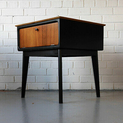 Walnut and black bedside cabinet / lamp table 1950's G-Plan Heals Mid-Century