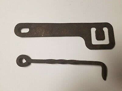 "2 Antique Wrought Iron Gate Hooks Barn Door Latches 7 1/4"" and 6"""