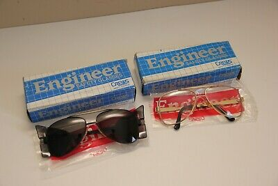 Crews Engineer Safety Glasses Aviator Style Clear and Tinted Pairs Shield Vtg.