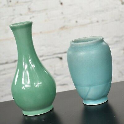 Pair of Petite Rookwood Pottery Arts & Crafts Vases 1 Sea Green & 1 Turquoise