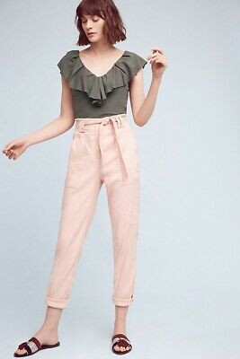 Anthropologie Paperbag-Waisted Joggers By Elevenses Pink High Rise Pants Size XS