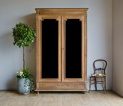 French Antique 19C Walnut Knockdown Mirrored Armoire Linen Press with Shelves