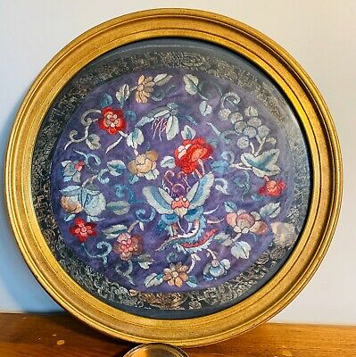 Antique Chinese Silk Embroidery Mounted In Gold Round Wood Frame