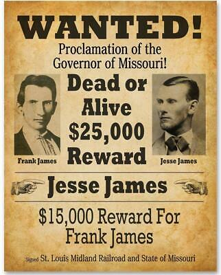 """James Younger Gang Wanted poster Jesse James Western outlaw 14/""""x11/"""""""