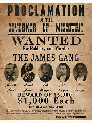 Jesse & Frank James Younger Gang Old West Wanted Posters For Bank Robbery Murder