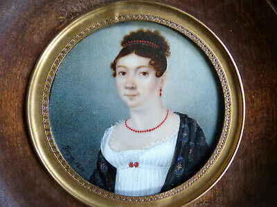 SUPERB ANTIQUE EARLY 19th CENTURY LADY MINIATURE PORTRAIT SIGNED & DATED 1815
